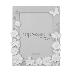 Impressions Grey with White Butterfly Photo Frames - Various Sizes