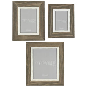 Impressions Grey Brown Wooden Effect Photo Frames - Various Sizes