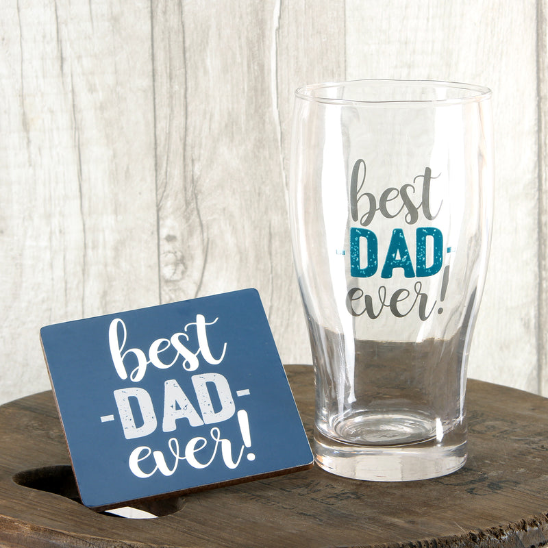 World's Greatest G341D Best Dad Ever Pint Glass and Coaster