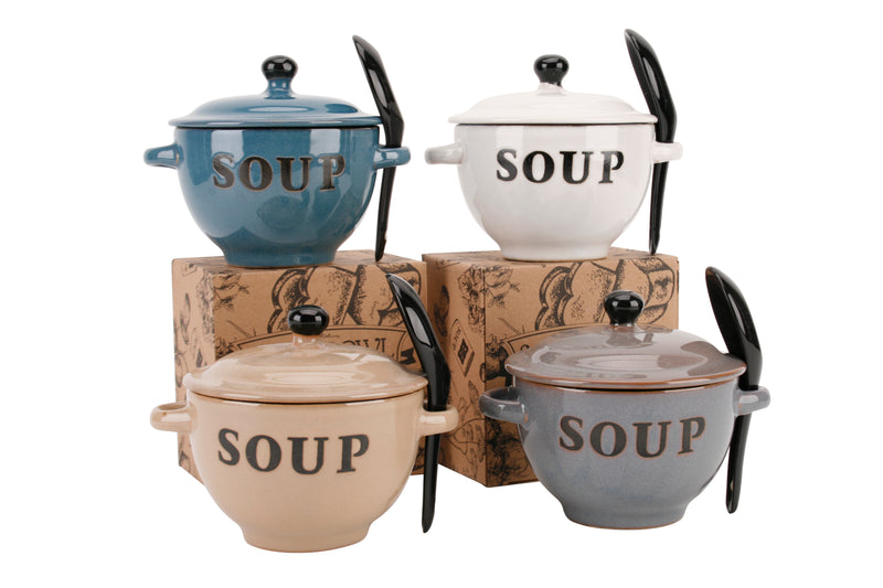 CGB GA635 Soup Bowl With Lid and Spoon Set - Various Colours
