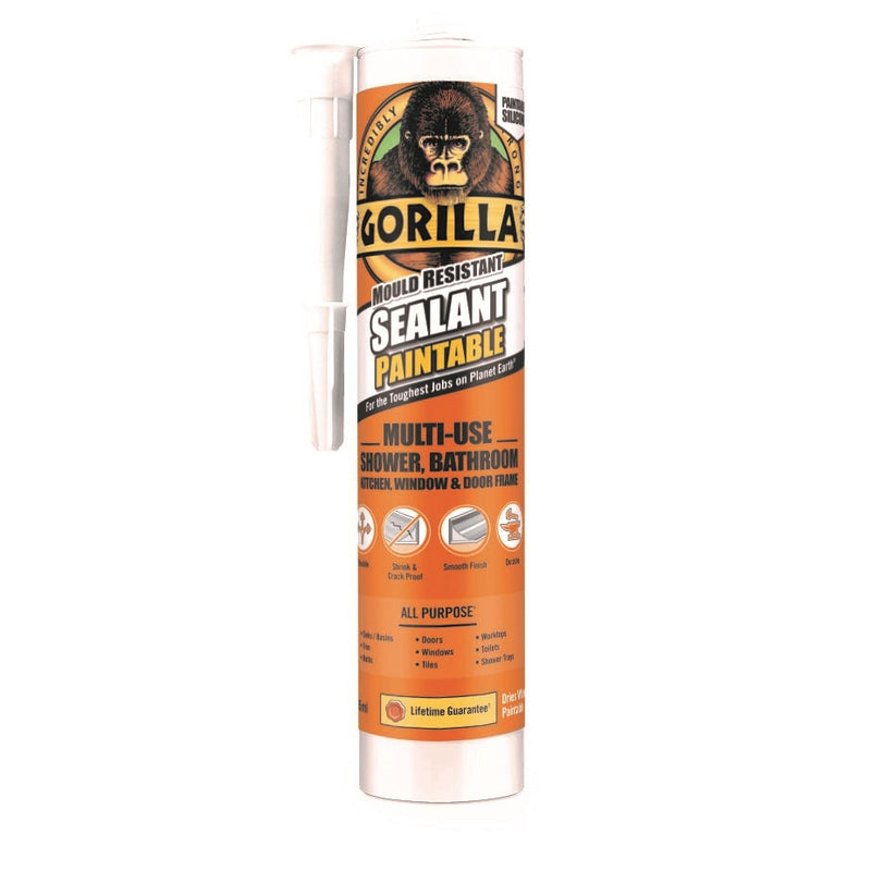 Gorilla 1144200 Mould Resistant Silicone Paintable Sealant Cartridge 265ml