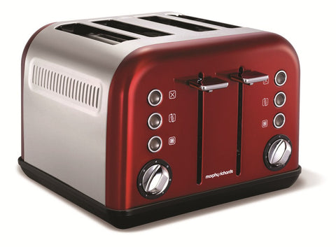 Morphy Richards 242004 Accents Toaster 4 Slice Red