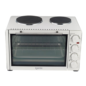 Igenix IG7130 Mini Oven 30 Litre White with Double Hotplates