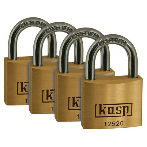 Kasp 12520D4 Premium Brass Padlock 20mm - Quad Pack