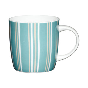 Kitchencraft KCMBAR33 Fine Bone China Blue Stripe Barrel Mug