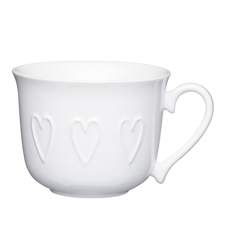 Kitchencraft KCMBFAST119 Stoneware Embossed Hearts Breakfast Cup