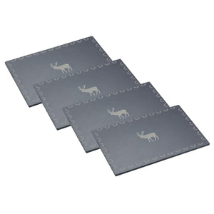 Kitchencraft KCXMPMSLTPK4 Slate Placemats Pkt4 with Stag Design