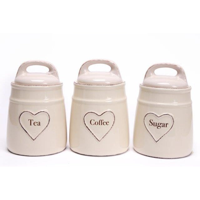 Heart Of The Home Kg0649 Porcelain Tea Coffee Sugar Canisters