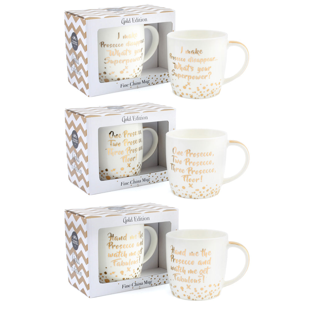 Lesser Pavey Lp40086 Gold Edition Prosecco China Mug Assorted