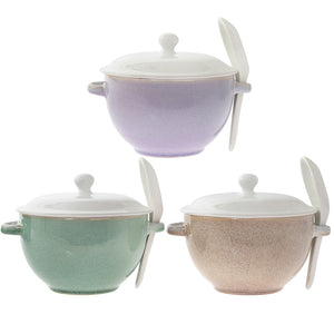 Lesser & Pavey LP43198 Home Sweet Home Soup Bowl with Spoon - Various Colours
