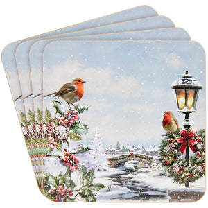 Lesser & Pavey LP51006 Christmas Robins Coasters - Set of 4