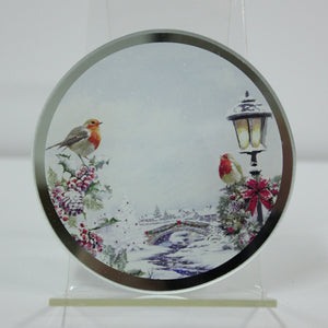 Lesser & Pavey LP51023 Christmas Robins Candle Plate 10.2cm