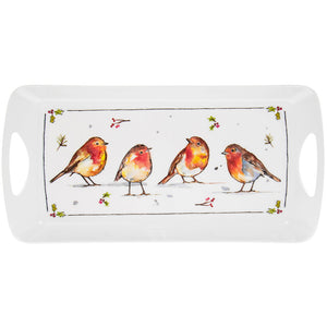 Lesser & Pavey LP51099 Winter Robins Melamine Tray - Medium