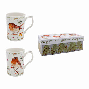 Lesser & Pavey LP51592 Winter Robins Fine China Mugs - Set of 2