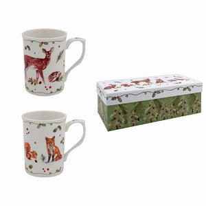 Lesser & Pavey LP51658 Winter Forest Fine China Mugs - Set of 2