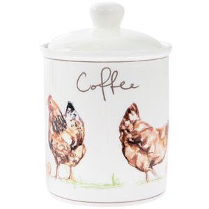 Lesser & Pavey LP93604 Country Life Chickens Fine China Coffee Canister