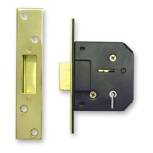 "Sterling MLD525B-A 5 Lever Mortice Deadlock 2½"" Brass Plated"