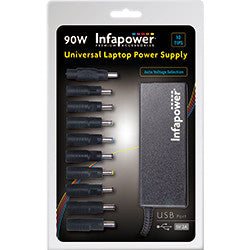 Infapower P034 Universal Laptop Power Supply 90W with USB port 10 Tips