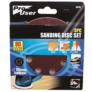 Pro-User SA116 Sanding Discs 80g Pack of 5