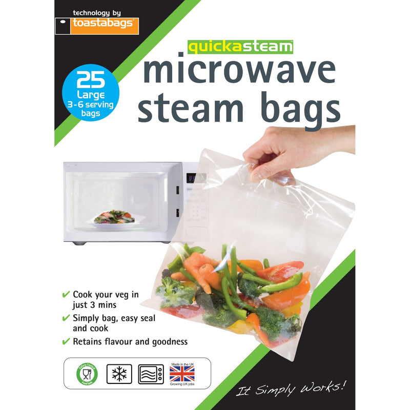 Planit QSL25PP Quickasteam Microwave Steam Bags Pkt25