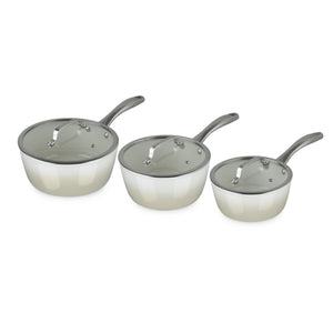 Fearne by Swan SWPS3015HON 3 Piece Forged Enamel Pan Set - Pale Honey
