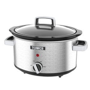 Tower T16018 Slow Cooker 3.5Ltr Stainless Steel