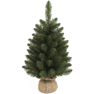 Premier Decorations TR200BL Table Top Green PVC Tree with Burlap Base 60cm