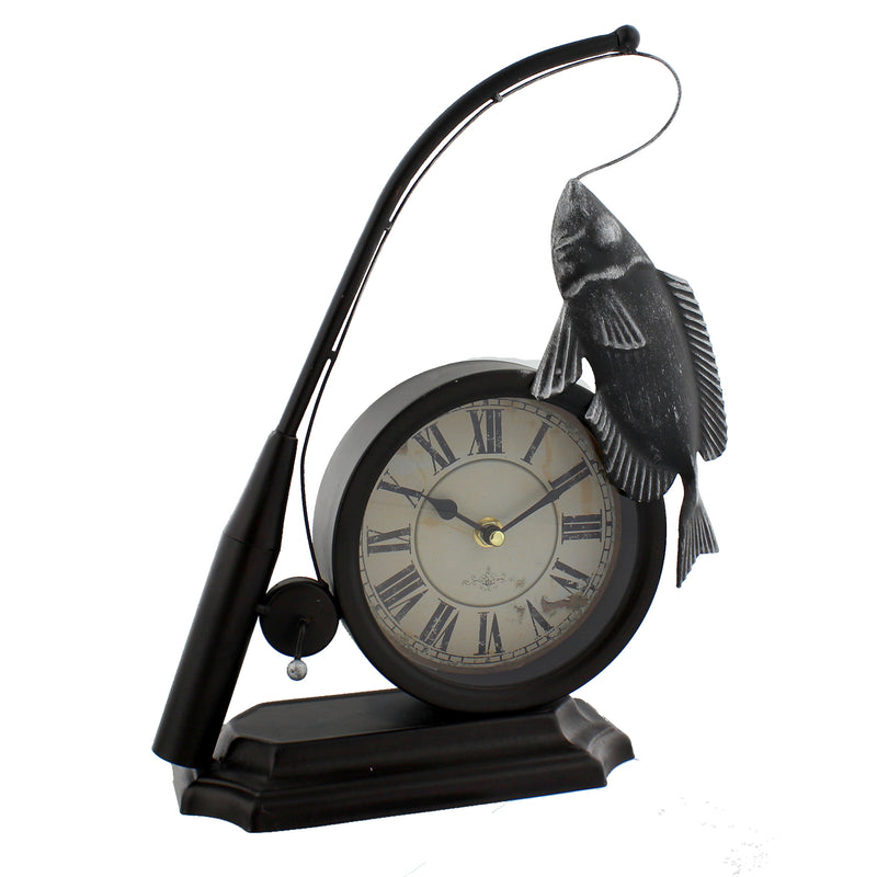 Hometime W2777 Metal Mantel Clock - Fishing Rod & Fish