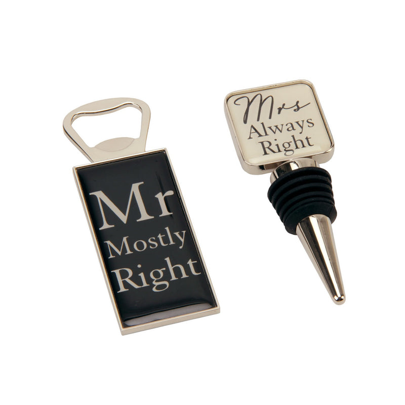 Amore WG394 Mr & Mrs Bottle Stop and Opener Set