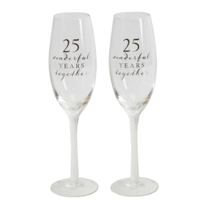 Amore WG66525 Champagne Flutes Set of 2 - 25th Anniversary