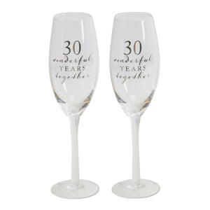 Amore WG66530 Champagne Flutes Set of 2 - 30th Anniversary