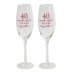 Amore WG66540 Champagne Flutes Set of 2 - 40th Anniversary