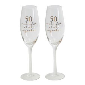 Amore WG66550 Champagne Flutes Set of 2 - 50th Anniversary