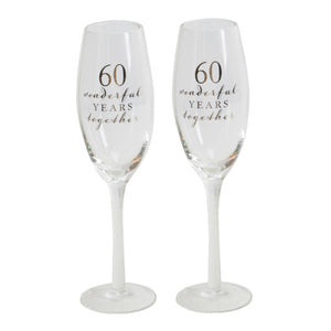 Amore WG66560 Champagne Flutes Set of 2 - 60th Anniversary