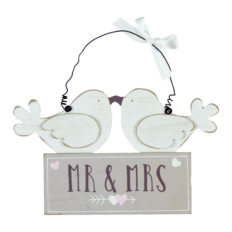 Love Story WG751 Mr & Mrs Love Birds Wooden Plaque