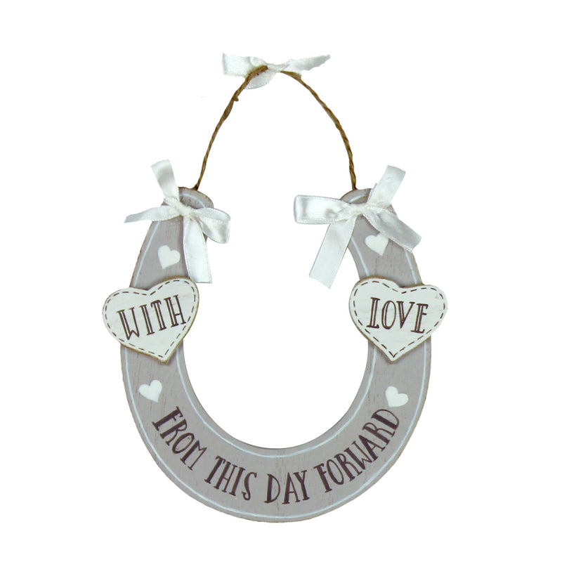 Love Story WG752 Horse Shoe With Love Wooden Plaque