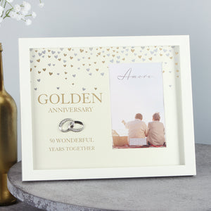 "Amore WG89750 Cream Photo Frame 4"" x 6"" - Golden Anniversary"