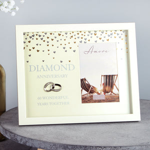 "Amore WG89760 Cream Photo Frame 4"" x 6"" - Diamond Anniversary"