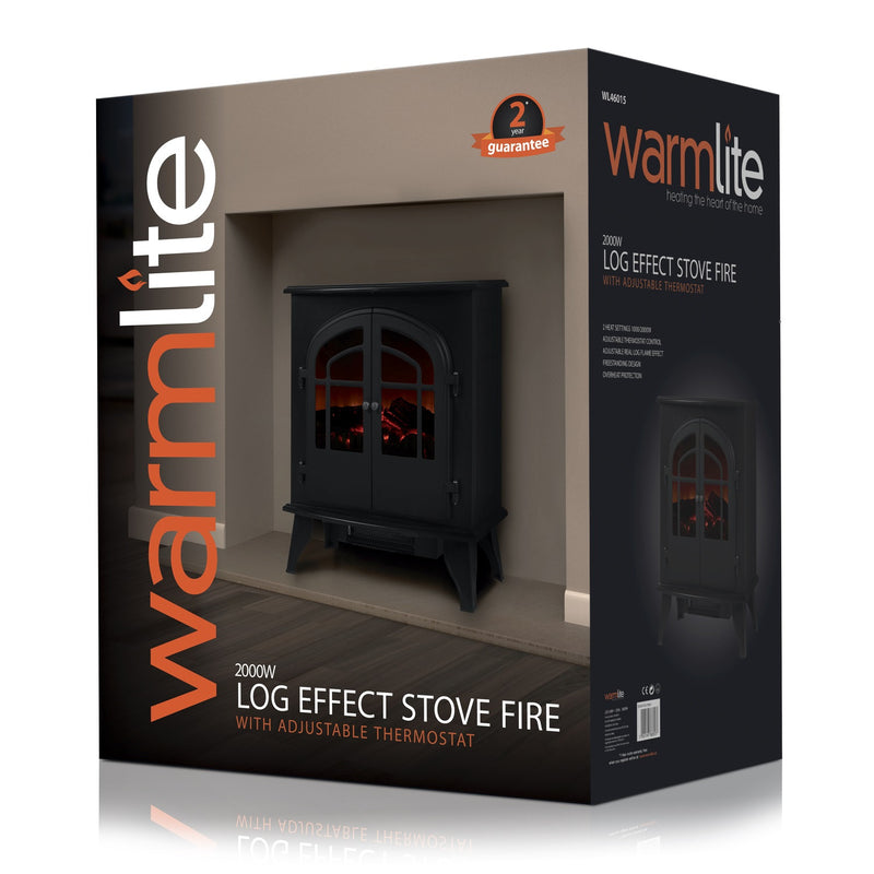 Warmlite WL46015 2000w Log Effect Stove Fire with Thermostat