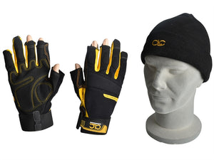 C.L.C. KUNFLGLOVE Fingerless Work Gloves & Beanie Hat
