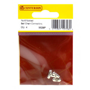 Centurion MI39P No. 6 Ball Chain Connectors - Nickel Plated - Pk 4