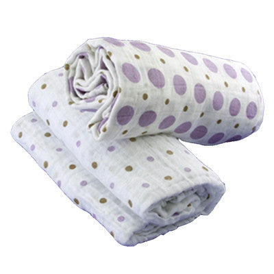 2 Pack Organic Muslin Swaddling Blankets - Brown Dots