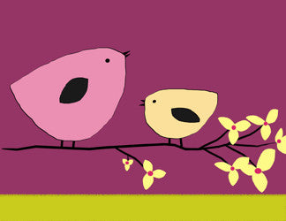 Printable Wall Art for Kids - Birds on branch (Purples)