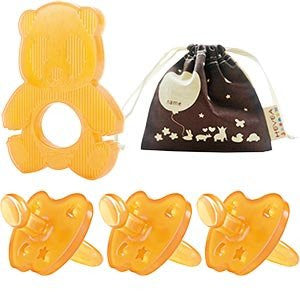 Hevea 100% Natural Rubber Pacifiers, Teether and Organic Mini Storage Bag Bundle