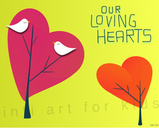 Printable Wall Art for Kids - Our Loving Hearts (yellow)