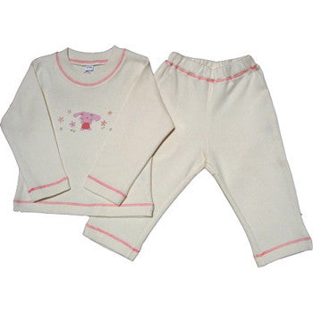 Lukeeno Organic Pants and Tee Girls Lounge Set - Natural