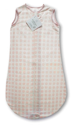 Organic Cotton Flannel zzZipMe Sack - Pastel Pink Dots & Hearts with Pastel Pink Trim