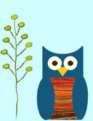 Printable Wall Art for Kids - Blue Owl Print