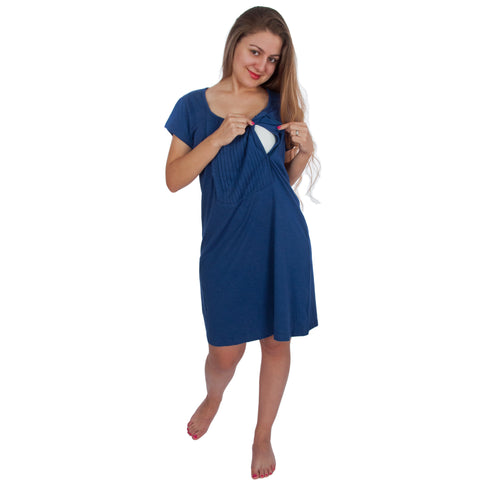 Pintuck Short Sleeve Nursing Sleepwear Breastfeeding/Nightgown