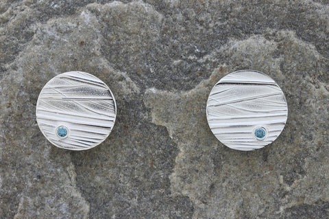 Deeside Round Earrings with Blue Diamond